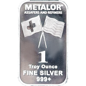 SILVER 1 OZ METALOR BAR