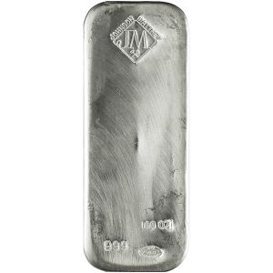 100 OZ SILVER JOHNSON MATTHEY BAR FRONT