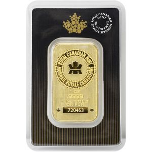 1 OZ GOLD ROYAL CANADIAN MINT BAR / NEW & OLD