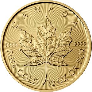 1/2 OZ GOLD CANADIAN MAPLE LEAF COIN FRONT