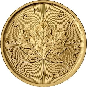 1/10 OZ GOLD CANADIAN MAPLE LEAF COIN FRONT