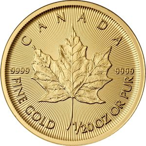 1/20 OZ GOLD CANADIAN MAPLE LEAF COIN FRONT