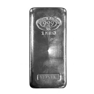 1 KILO SILVER JOHNSON MATTHEY BAR front