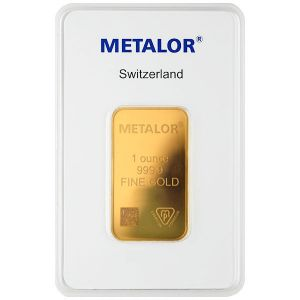 1 OZ GOLD METALOR BAR FRONT