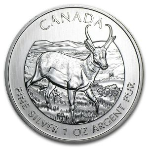 1 OZ SILVER CANADIAN PROGHORN ANTELOPE COIN