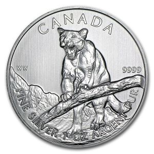 1 OZ SILVER 2011 WILDLIFE SERIES COUGAR COIN