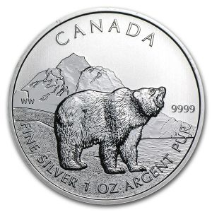 1 OZ SILVER 2011 WILDLIFE SERIES GRIZZLY COIN