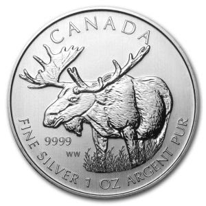 1 OZ SILVER MOOSE COIN FRONT