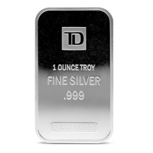 Silver 1 OZ TD Bank .9999 Bar