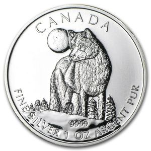 1 OZ SILVER 2011 WILDLIFE SERIES WOLF COIN