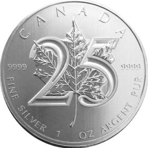 1 OZ SILVER MAPLE - 25TH ANNIVERSARY EDITION