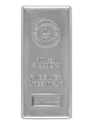 100 OZ SILVER ROYAL CANADIAN MINT BAR 2016